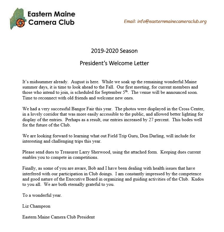 Welcome Letter 2019-2020